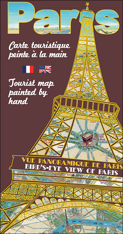 Carte touristique de paris peinte la main broch for Paris carte touristique