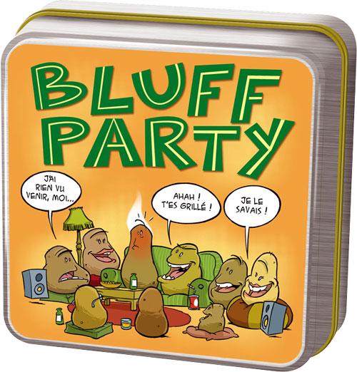 Bluff Party : petits bluffs entre amis Avec Bluff Party, mettez le feu à vos soirées en relevant trois défis inconnus de vos compagnons de jeu ! Pour jouer à Bluff Party, il suffit de réunir un important groupe d´amis ou de collègues. Chacun tire une cart