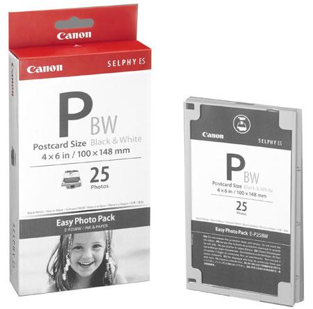 Pack encreur et 25 feuilles noir et blanc au format 10 x 15 cm Pour imprimante Canon ES1