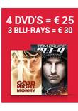 4 Blu-Ray =€ 30, 4 DVD =€ 25 en nog veel meer...