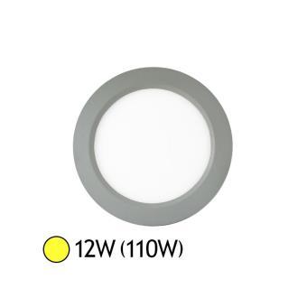 Plafonnier Led 12w 110w Encastrable Finition Alu D180 Blanc Chaud 3000k
