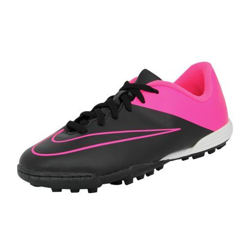 Nike jr mercurial vortex ii tf <strong>chaussures</strong> de football fille enfant noir rose
