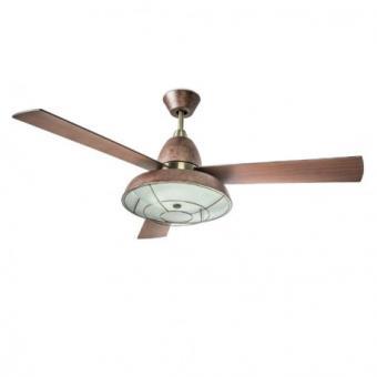 Leds C4 Ventilateur De Plafond Lumineux Vintage Marron