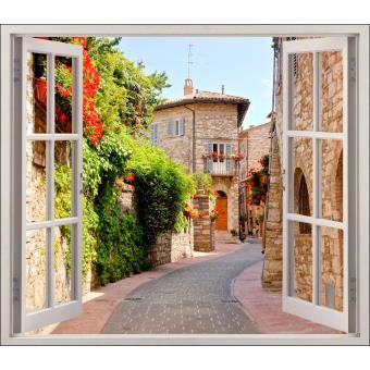 sticker fenêtre trompe l oeil belle ruelle réf 5462 dimensions