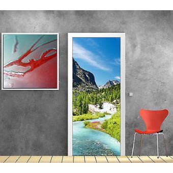 Deco Paysage stickers pour porte trompe l'oeil déco paysage montagne rivière réf