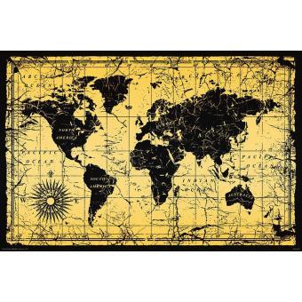 affiche carte du monde Poster Carte du monde style vintage Carte du monde dans un style