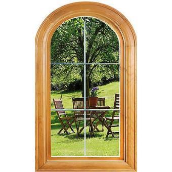 Sticker fenêtre vouté trompe l oeil déco Jardin réf 652 Dimensions - 41x70cm