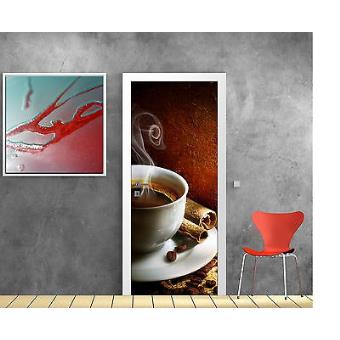 Sticker Pour Porte Déco Cuisine Café Réf 735 Dimensions 63x204cm