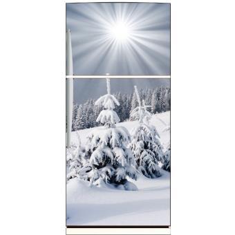 Sticker frigo déco cuisine Montagne enneigée Dimensions - 70x170cm