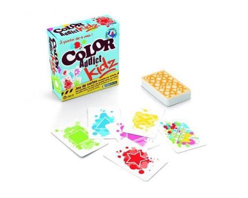 Débarrassez-vous de vos cartes en posant une carte avec la même forme ou la même couleur. Vous partagerez les joies du Color Addict avec les plus jeunes grâce à ce jeu pensé pour les plus petits. Plus simple et toujours autant de plaisir! Pas besoin de sa