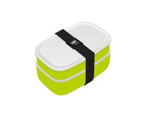Zak designs 0204-840 lunch box 2 boîtes + couverts vert blanc