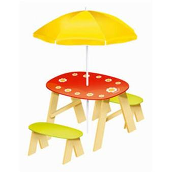 table pique nique en bois avec parasol pour enfants. Black Bedroom Furniture Sets. Home Design Ideas