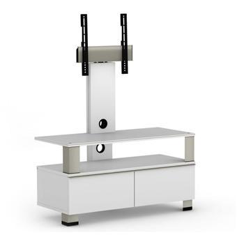 elmob tura tu 095 01f blanc meuble avec support cran plat 37 pouces meuble tv achat prix fnac