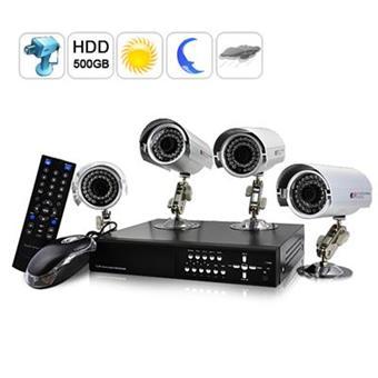 kit de surveillance ext rieur 4 cameras ip enregistreur dvr 500go achat prix fnac. Black Bedroom Furniture Sets. Home Design Ideas