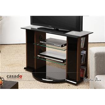 Casado   Rotator Base 1130WG   Meuble TV Rotatif 360 °   2 Tablettes  Transparentes Rangement CD/DVD/Livres   Finition Wenge Et Noir Laqué    Achat U0026 Prix   ...