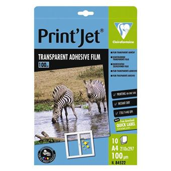 10 feuilles film transparent adh sif a4 21x29 7 printjet pour imprimante jet d 39 encre achat. Black Bedroom Furniture Sets. Home Design Ideas