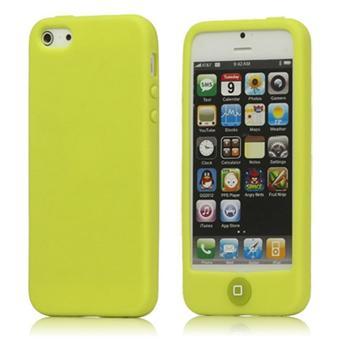 Houe etui coque pour iPhone 5 protection silicone souple bouton home jaune film