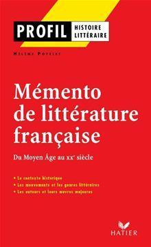 Profil - Mémento de la littérature française - 9782218948152 - 3,99 €
