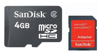 SanDisk Carte mémoire microSDHC 4 Go + Adaptateur SD