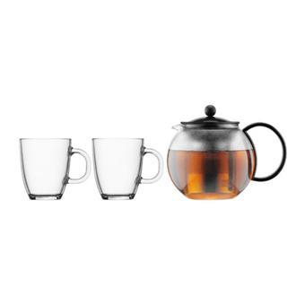 Bodum Assam Box Teapot 1L + 2 Mugs