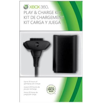 Kit Play and Charge noir Microsoft pour Xbox 360