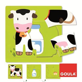 Goula Puzzle en bois 3 niveaux vache