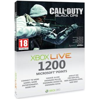 Carte pré-payée Xbox Live 1200 Points Call Of Duty Black Ops pour Xbox 360