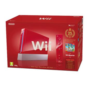 Console Wii rouge Nintendo Pack Anniversaire 25 ans + New Super Mario Bros