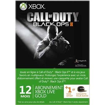 Carte pré-payée Xbox Live Gold 12 Mois Microsoft pour Xbox 360 + 1 mois offert + 1 avatar Call of Duty Black Ops 2