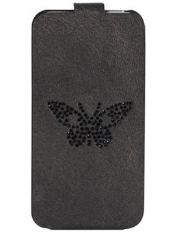 Zadig Voltaire Etui Coque cuir Papillon pour iPhone 5 Noir