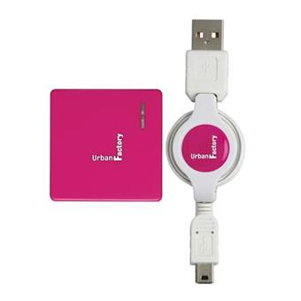 Urban Factory Crazy Hub Rose Fuschia 4 ports + Câble USB/mini USB