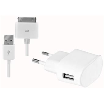 Modelabs Chargeur secteur + câble pour iPhone - Blanc
