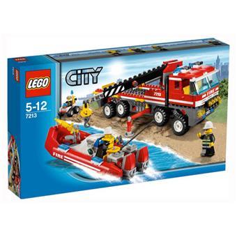 lego city 7213 le camion tout terrain et le bateau des pompiers - Lego City Bateau