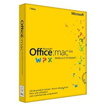 Office Mac 2011 Famille & Etudiant - Version 1 poste - Vendue exclusivement pour l'achat d'un Mac