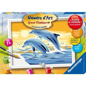ravensburger num ro d 39 art petit format dauphins au coucher de soleil peinture achat prix. Black Bedroom Furniture Sets. Home Design Ideas