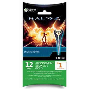Carte Xbox Live Gold 12 Mois.Carte Pre Payee Xbox Live Gold 12 Mois Microsoft Pour Xbox 360 1 Mois Offert 1 Stylo Halo 4