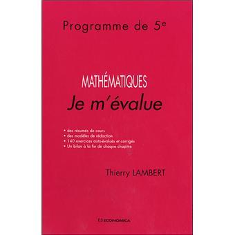 Mathématiques : je m'évalue programme de 5ème