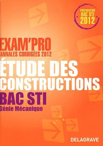 Etude des constructions, Bac STI, génie mécanique