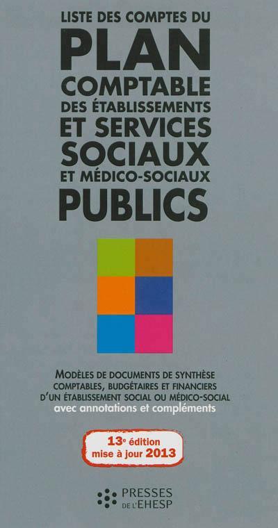 Liste des comptes du plan comptable des établissements et services sociaux et médico-sociaux publics