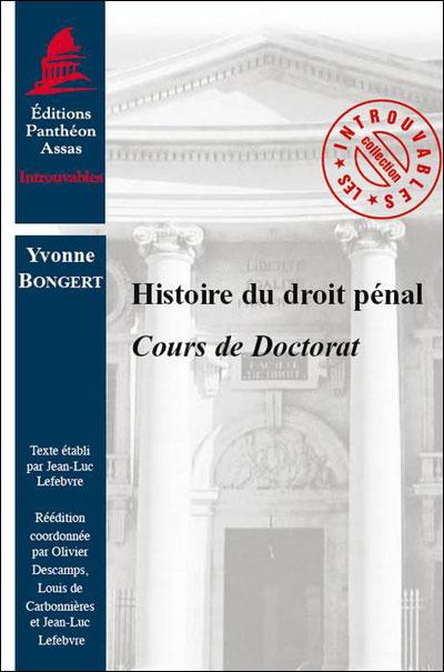 Histoire du droit pénal cours de doctorat
