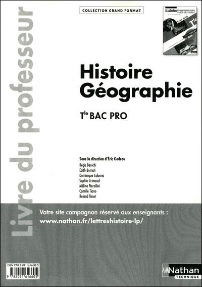 Histoire - Géographie - Tle Bac Pro Livre du professeur Grand Format Livre du professeur