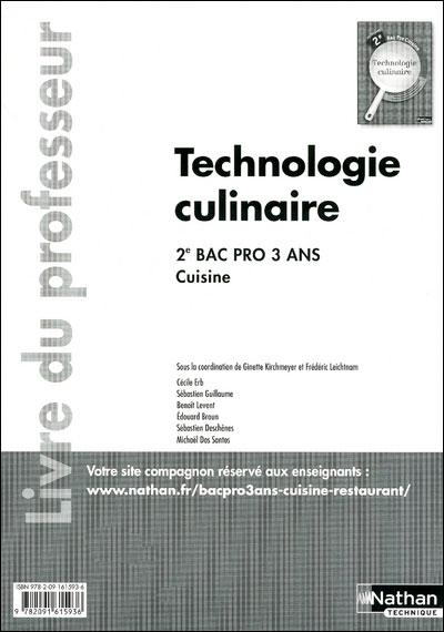 Techno culinaire 2e bpro cuis