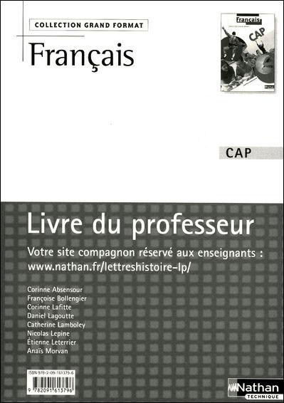 Français - CAP ( Grand Format) Grand Format Livre du professeur
