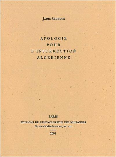 Apologie pour l'insurrection algérienne