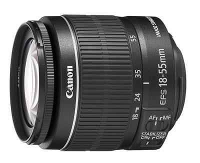 Zoom trans-standard Stabilisé Canon EF S 18 – 55 mm f 3.5 – 5.6 IS II, Dédié Reflex numériques à capteurs petit format APS-C; Equiv. de focales 35 mm : 29 - 88 mm; Construction optique : 11 lentilles en 9 groupes dont 1 lentilles asphérique;