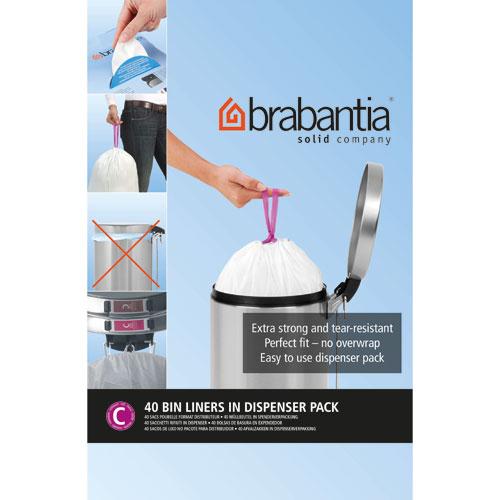 Brabantia - 361982 - Sacs Poubelle - 10-12 litres - Blanc