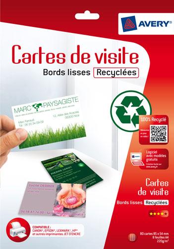 Avery Pochette De 80 Cartes Visite En Papier Recycl