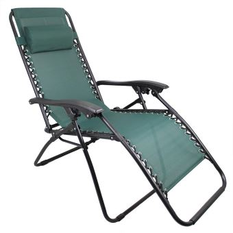 Leogreen - Chaise Longue Inclinable, Transat en Textilène de Jardin, 165 x  112 x 65 cm, Vert, Avec coussin, Textilène, Charge maximale: 100 kg
