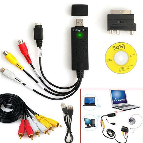 Adaptateur de convertisseur audio vidéo USB Carte vidéo USB 2.0 Convertisseur TV PC Audio VHS DVD
