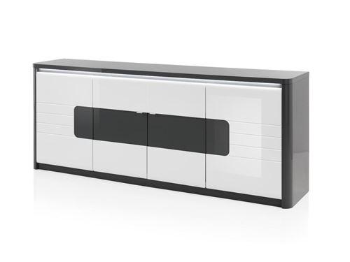 Buffet PERCEPTION - LEDs - 4 portes - Gris & Blanc